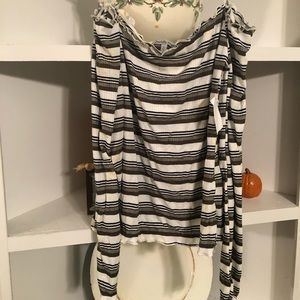 NWT off the shoulder striped shirt
